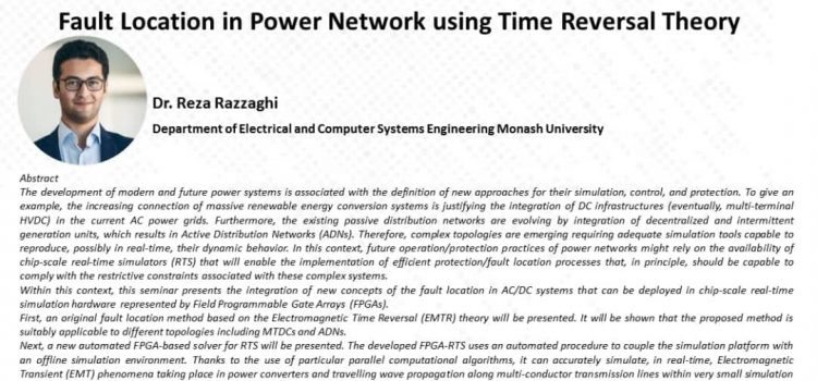 وبینار Fault Location in Power Network using Time Reversal Theory