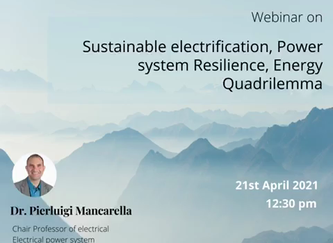 IEEE PES ADGITM webinar on  Sustainable electrification, power system resilience, and the energy quadrilemma