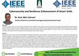 سخنرانی با عنوان Cybersecurity and Resilience Enhancement of Smart Grids